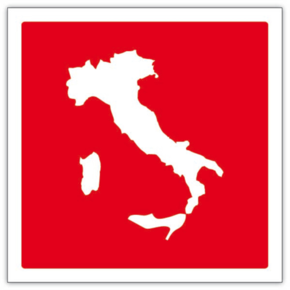 attenzione! italia con scarpa con tacco