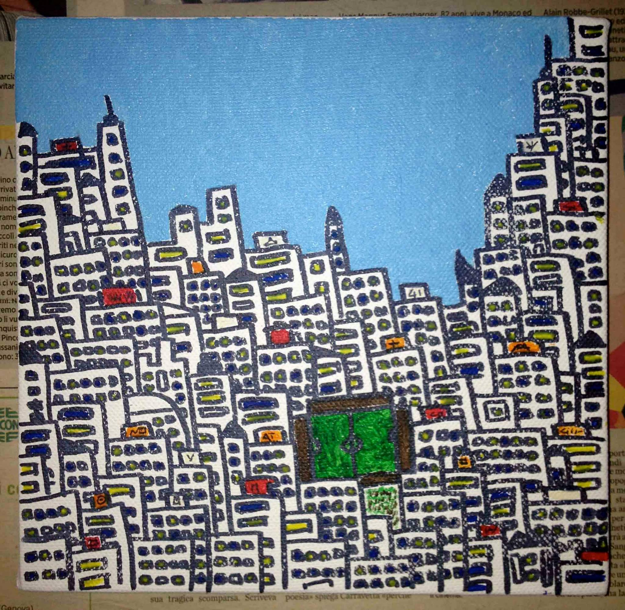 città con mare azzurro